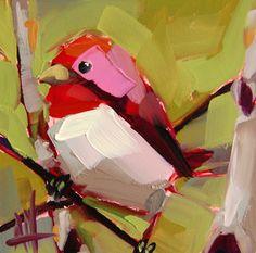 New Hampshire Purple Finch original bird oil painting by Angela Moulton prattcreekart.com