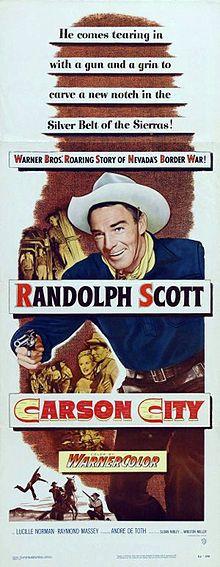 CARSON CITY (1952) - Randolph Scott - Warner Bros. - Insert Movie Poster.