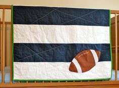 Sports quilt. football. Navy and white stripes. LifeStitchedTogether on Etsy