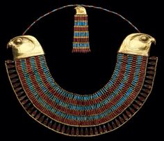 Falcon collar of Princess Neferuptah. Made of gold, carnelian & feldspar. Dated from the dynasty of Egypt, reign of Amenemhat III, B. (The Egyptian Museum, Cairo) Egypt Jewelry, Women's Jewelry, Egypt Museum, Ancient Egyptian Jewelry, Art Antique, Long Pearl Necklaces, Ancient Civilizations, Egyptians, Ancient Artifacts