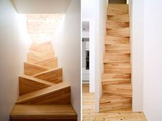 Gabriella Gustafson and Mattias Ståhlbom of TAF designed this unusual staircase for a private residence in Stockholm, Sweden. The alternating stair design takes up much less room than conventional stairs, but you cannot rush up or down without thinking about where you put your feet!