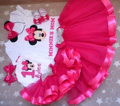 Mommy and daughter minnie tutu set, mom and daughter minnie birthday matching tutu outfits, minnie s Minnie Mouse Birthday Decorations, Minnie Mouse Birthday Outfit, 1st Birthday Party For Girls, Minnie Mouse Party, Birthday Tutu, Tutu Outfits, Body Minnie, Baby Tutu Tutorial, Disney Baby Clothes