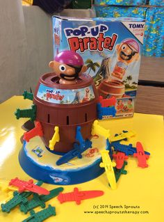 Pop-up Pirate. Great quick-play game for speech therapy. The kids love it, especially when they see me jump as the pirate catapults into the air!