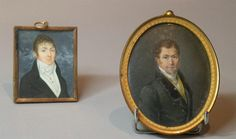 Miniature ovale représentant le portrait d'un homme au manteau a col de fourrure…