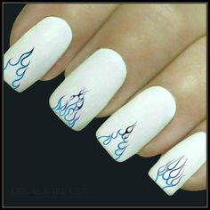 Nail Decal Flame Nail Art 20 Water Slide Decals Fingernail Decals Nail Tattoos