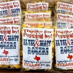 $2.95 - Yummy Custom Popcorn Favors!  Send us your custom logo, design and we will print it on the labels.  Or, choose from over 12 different styles on our website!  They are DELICIOUS!!!