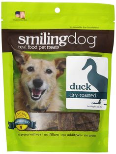 Herbsmith Smiling Dog Dry Roasted Duck Treats for Dogs and Cats, 3-Ounce * Check out this great image  : Dog treats