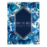 Blue Indigo Floral Flowers Wedding Save the Date Postcard #weddinginspiration #wedding #weddinginvitions #weddingideas #bride