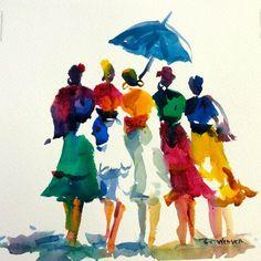 COLORFUL DRESSES UMBRELLA Original Watercolor Painting by Pat Weaver
