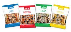 Diseño de packaging para mix de cereales y frutos secos de Zafran (Dadou - Aminipiñada - Wazan - Karikajú), por http://soytandem.com.ar