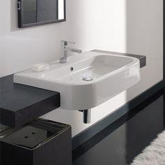 Nameeks Bathroom Sink Scarabeo Scarabeo Next Rectangular White Ceramic Semi-Recessed Sink Corner Sink Bathroom, Ada Bathroom, Next Bathroom, Bathroom Basin, Small Bathroom, Bathroom Ideas, Bathrooms, Bathroom Designs, Handicap Bathroom