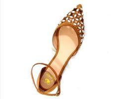 sandália feminina bico fino com pedras caramelo frete grátis