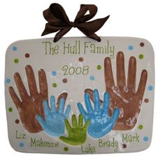 Family Handprint Plaque - the linked site will let you order a kit; a basic salt-dough recipe and some paint would make an awesome DIY