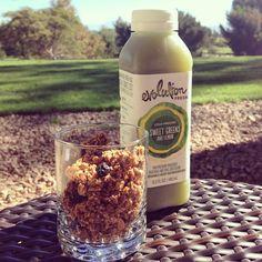 breakfast of county club champions: @evolutionfresh green juice + @purelyelizabeth blueberry hemp granola.