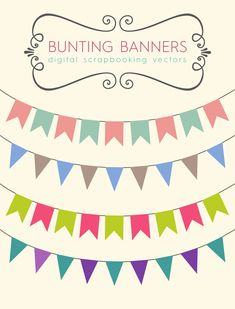 Download these bunting banners to use for your party printables, blog banners or…