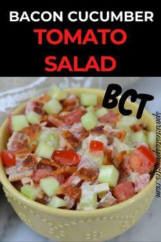bct bacon cucumber tomato salad Protein Powder Recipes, High Protein Recipes, Low Carb Recipes, Cooking Recipes, Tomato Salad Recipes, Cucumber Tomato Salad, Pasta Recipes, Summer Grilling Recipes, Summer Recipes