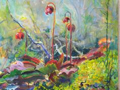 """$750.00 Pitcher Plant in bloom, a nice botanical find in the bog.  This painting measures 16""""x20"""", and comes in a beautiful wood frame.  To own this painting, please visit my etsy store at www.etsy.com/shop/melissabluefineart"""