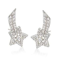 Take advantage of our great price and try out this top  trend: .80 ct. t.w. CZs adorn shooting star ear crawlers, set in sterling silver, that trace the ears in an upward  orientation. Make a wish! Post/clutch, CZ shooting star ear crawlers. <i>CZ weights are diamond equivalents.</i> Free shipping & easy 30-day returns. Fabulous jewelry. Great prices. Since 1952.