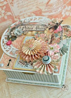 """One of the design team members of G45 created this beautiful box using the """"Ladie's Diary"""" paper line.....beautiful piece of art!"""