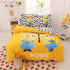 Cartoon Minions Bedding Set Hello Kitty Spiderman Stitch Doraemon Printed Bed Linen For Kids Bed Gift Twin Full Queen Size Bed Sets, Minions, Bed Duvet Covers, Duvet Cover Sets, Kids Comforters, Where To Buy Bedding, Bedclothes, King Bedding Sets, Kid Beds