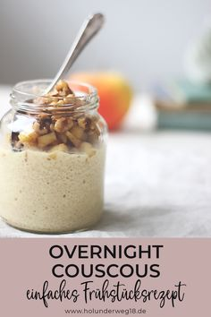 Overnight couscous with apples and walnuts - Osterbrunch Rezepte - Breakfast Smoothie Couscous, Vegan Breakfast Recipes, Vegan Recipes, Healthy Desserts, Smoothie Recipes, Muesli, Food And Drink, Gluten, Tasty