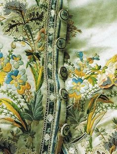 Embroidered silk waistcoat. Mid to late 18th century.