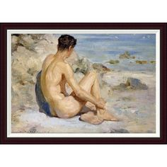 "Global Gallery Boy On a Beach by Henry Scott Tuke Framed Painting Print Size: 28.8"" H x 40"" W"