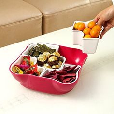 Snack Serving Tray Set with Lid Dipping Bowl Fruit Nut Candy Party Appetizer New #HomeAndAbove