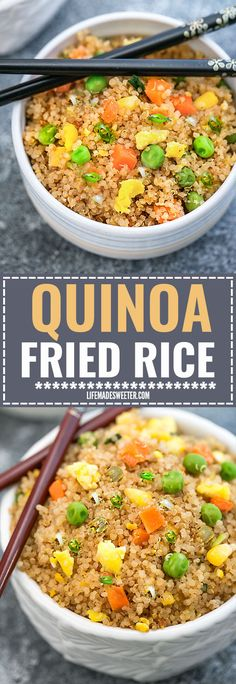 Quinoa Fried Rice makes a simple and healthy alternative to traditional fried rice. Full of protein and vegetables and just perfect for busy weeknights. Best of all, instructions included to make it in your Instant Pot pressure cooker or on the stove!