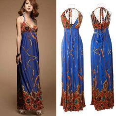 Women summer long Beach Dresses Lady fashion V-neck evening dress woman Sexy Blue Boho Hippie Vintage one-piece 2014 new clothes