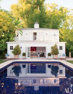 Love the pool tiles! Pool House via Architectural Digest Architectural Digest, Future House, My House, Spite House, Full House, Room Photo, Gazebos, My Pool, Pool Backyard