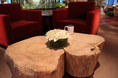 Old Tree Tables ... I love this beautiful set featured on the set of The Ellen Degeneres Show.