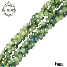 Green 6MM Czech Glass Crystal Beads Approx 100pcsString Natural Faceted Cut Two Hole Spacer Beads For Kids DIY Jewelry Making