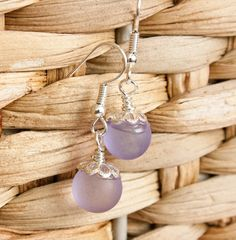 Lavender Marble Earrings  Painted Glass by HopeFilledJewelry