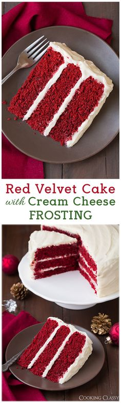 Red Velvet Cake with Cream Cheese Frosting - Add blueberries and raspberries to the top and its perfect for the 4th. Delicious!!