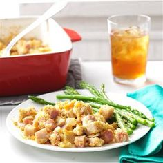 Potluck Cordon Bleu Casserole Recipe -Whenever I'm invited to attend a potluck, people usually ask me to bring this tempting casserole. The turkey, ham and cheese are delectable combined with the crunchy topping. When I bake a turkey, I prepare the leftovers for this dish, knowing I'll be making it again soon. -Joyce Paul, Moose Jaw, Saskatchewan