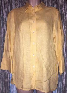 90c7415f6a407 Talbots Irish Linen Button Front 3 4 Sleeve Blouse Sz 8 Women s Yellow  Casual