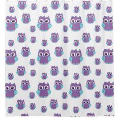 Girl Bathroom Purple Teal Owl Shower Curtain