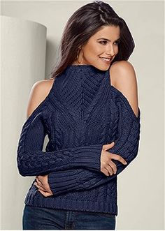 cc0a438455 Shop Mock Neck Cable Sweater from VENUS to keep you warm and stylish in  cooler climates