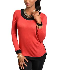 Red & Black Color Block Scoop Neck Top by Buy in America #zulily #zulilyfinds