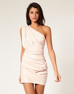 i love this look - think that i could replicate the one shoulder look with a high-waisted skirt?                 ASOS Ottoman Pleated One Shoulder Dress  $98.62