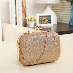 Woman Evening bag Women Gold Clutch bags Crystal Day Clutch Wallet Wedding  Purse Party Banquet 46dda628ed6b
