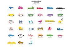 In het boek 'Hidden Persuasion' hoorden 33 influence techniques om te adverteren en aan ons werd de opdracht gegeven om 33 icoontjes te vormgeven die daar bij pasten. Als thema heb ik gekozen voor 'voertuigen'.