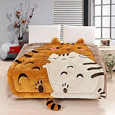 MeMoreCool Upgrade Flannel Totoro Bed Cover,Cute Cartoon Comforter for Kids,Soft Totoro/Cat/Owl Duvet Cover,Removable and Washable Quilt