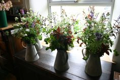 blowsy jugs of flowers to dress the bar and the buffet at a fete champetre early July 2012 - all grown, cut and tied by @theflowerfarmer at www.commonfarmflowers.com