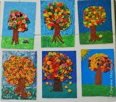 Поделка изделие Праздник осени Аппликация из пластилина + обратная Осеннее дерево Пластилин фото 6