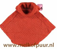 LOSAN kids red brown knitted poncho - Melkofpuur