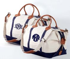 Monogrammed Canvas Weekender Duffle with by elrileyembroidery ...