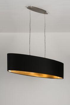 Hanglamp 10180: modern, zwart, stof, ovaal