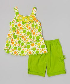 Love this Lime Floral Top & Shorts - Infant by G&J Relations on #zulily! #zulilyfinds